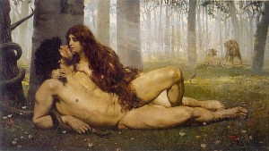 The First Kiss of Adam and Eve by Salvador Viniegra, 1891