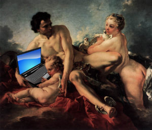 Boucher - education of cupid-w-laptop
